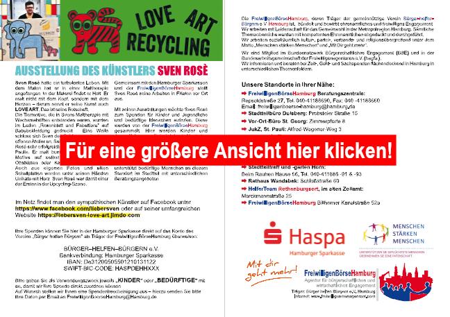 Veranstaltungsflyer Sven Rosè Ausstellung in der Haspa-Filiale Reeperbahn