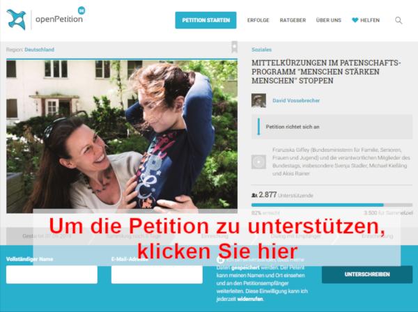 Petition Mittelkürzungen im Patenschafts-Programm Menschen stärken Menschen stoppen