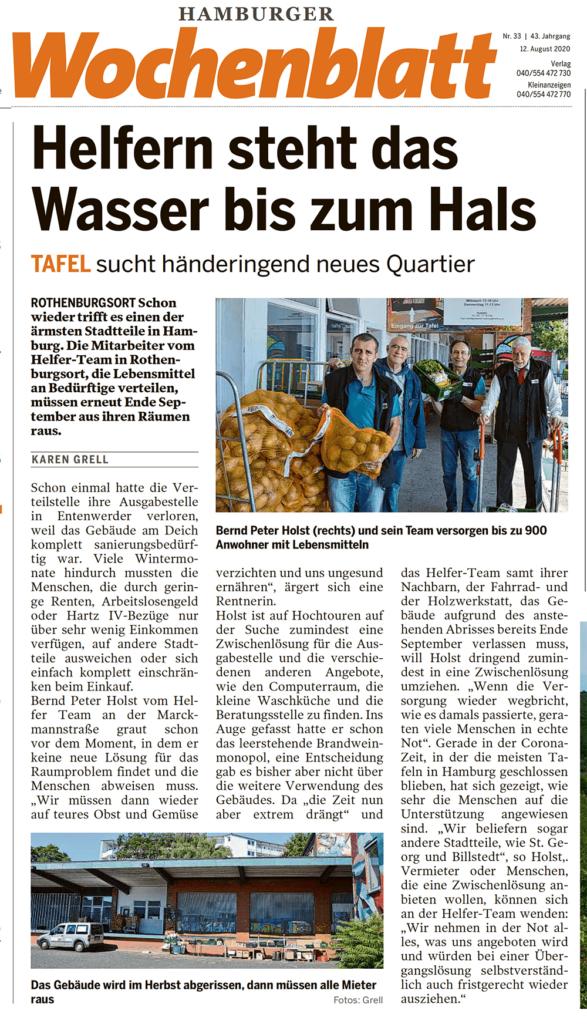 Hamburger Wochenblatt:HelferTeam Rothenburgsort sucht neue Räumlichkeiten und Unterstützer