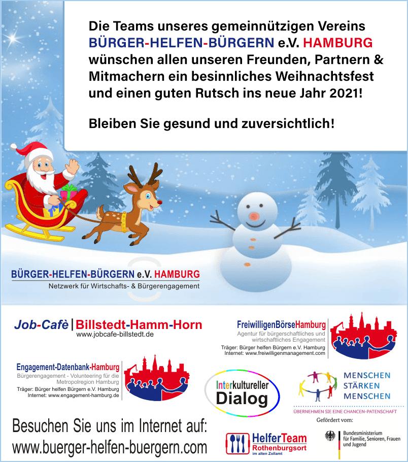Team FreiwilligenBörseHamburg wünscht besinnliche Weihnachten & einen guten Rutsch in 2021!