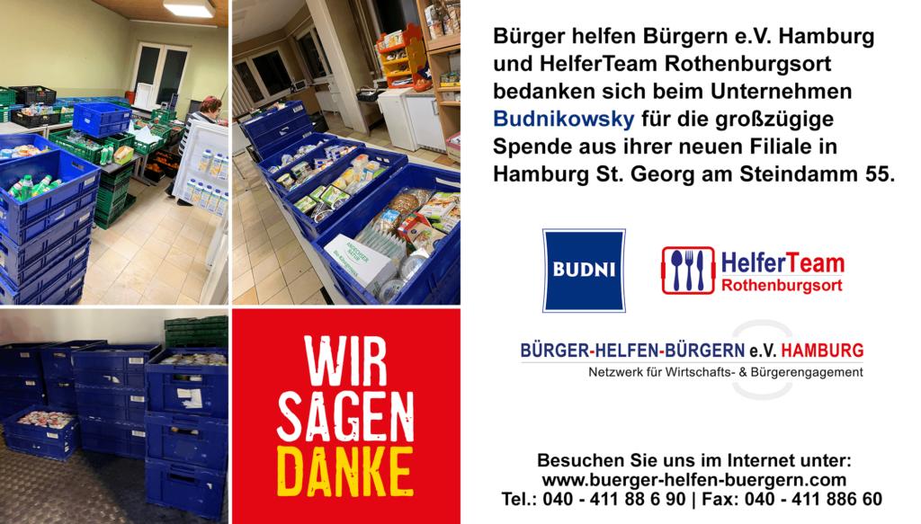 Budnikowsky spendet Lebensmittel an Bürger helfen Bürgern e.V.
