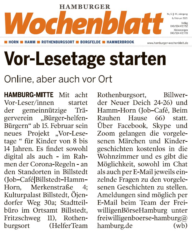 Hamburger Wochenblatt berichtet über Vor-Lesetage bei Bürger helfen Bürgern e.V. Hamburg