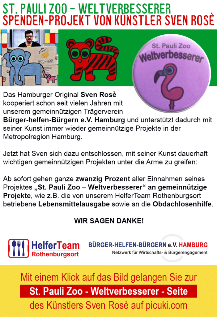 St. Pauli Zoo – Weltverbesserer - Spenden-Projekt von Künstler Sven Rosè